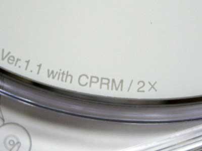 DVD-RW盤面のCPRM表示